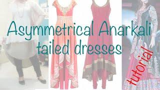 ♥Asymmetrical Anarkali ☁ 2 layers Tailed dress