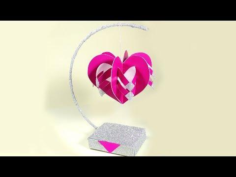 Unique paper hanging heart  💟 for Valentine's day decoration. DIY Paper Heart Showpiece