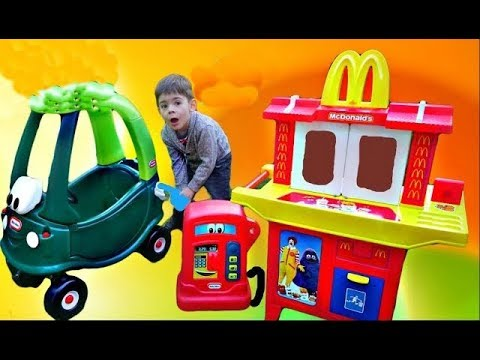 Thumbnail: MCDONALDS DRIVE THRU TOY * Dino Cozy Coupe * Crying Babies * Real Life * Alex TubeFun