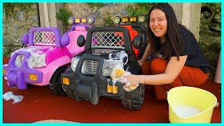 WASHING MY BATTERY CARS   FUNNY KIDS VIDEO