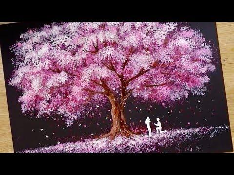 Spons Mandi, teknik lidi kapas / Cara menggambar Pasangan Romantis di samping pohon