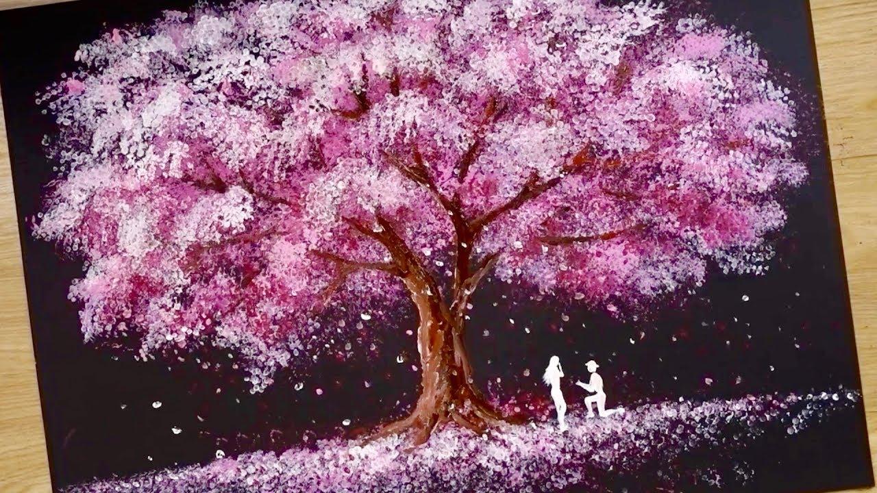 1 Bath Sponge Q Tips Painting Technique How To Draw Romantic Couple Beside Tree Youtube Q Tip Painting Romantic Couples Cherry Blossom Painting