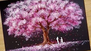 Bath Sponge & Q-tips painting technique / How to draw Romantic Couple beside tree