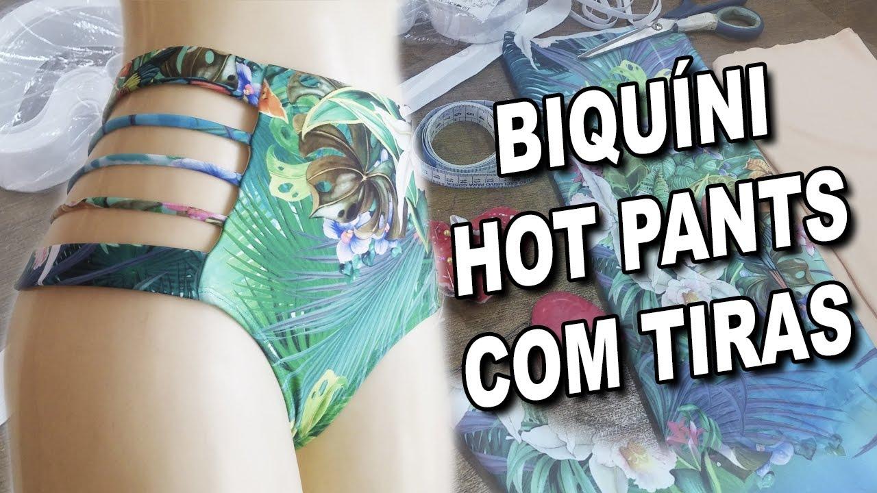 28de68db2a63 Biquíni Hot Pants com Tiras   Vídeo Aula passo a passo - YouTube