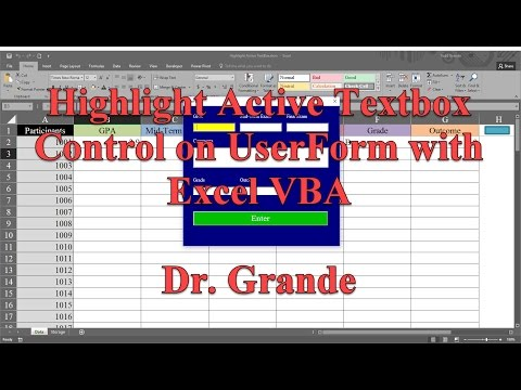 Highlight Active TextBox Control On UserForm Using Excel VBA
