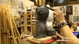 Лепка обрубовки торса - Обучение скульптуре. Фигура, 7 серия