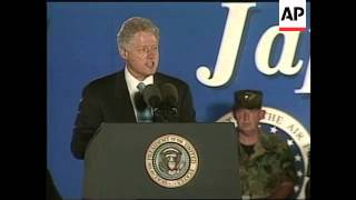 JAPAN: BILL CLINTON VISITS US MARINE BASE