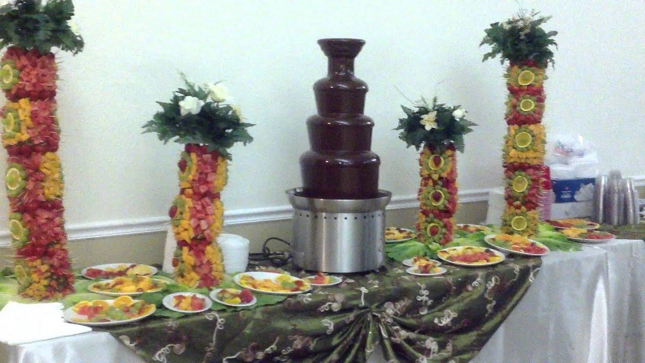 Fuente de chocolate y mesa de fruta youtube - Adornos de frutas para mesas ...