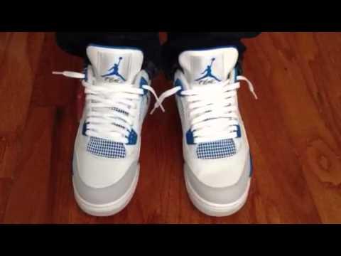 bf506e4a4a5f40 ... spain air jordan 4 iv retro military blue on feet youtube b2e3d 877b0