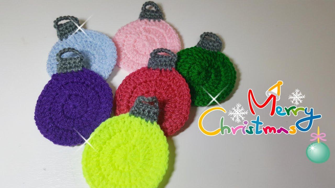 Segnaposto Natalizi Alluncinetto.Palline Di Natale All Uncinetto Crochet Christmas Ball Decorazioni Di Natale Fai Da Te Eng Sub