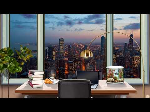 Study Ambience w/ City View | relaxing Sounds: light Rain, Aquarium & Typing - Study, Work & Relax