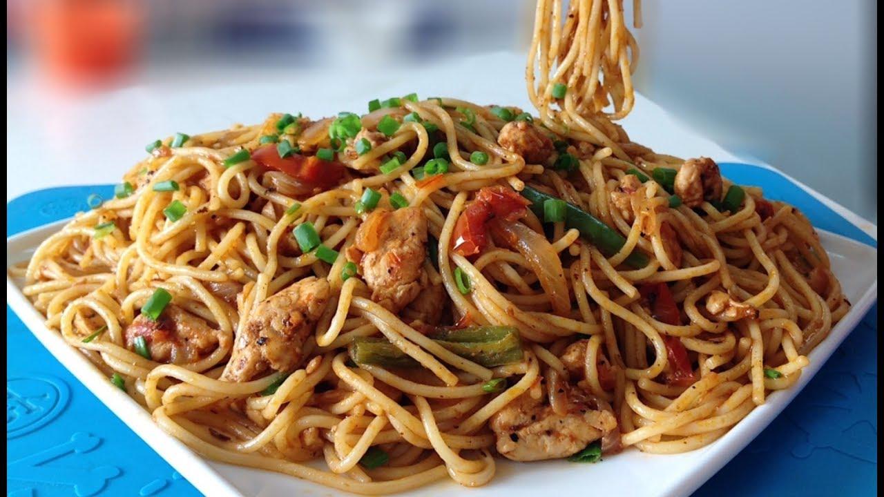 Desi Style Spaghetti Easy Chicken Spaghetti Recipe Youtube