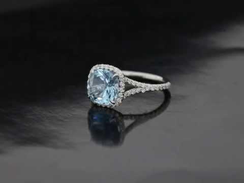L M Cushion Cut Aquamarine Fleur De Lis Ring Youtube