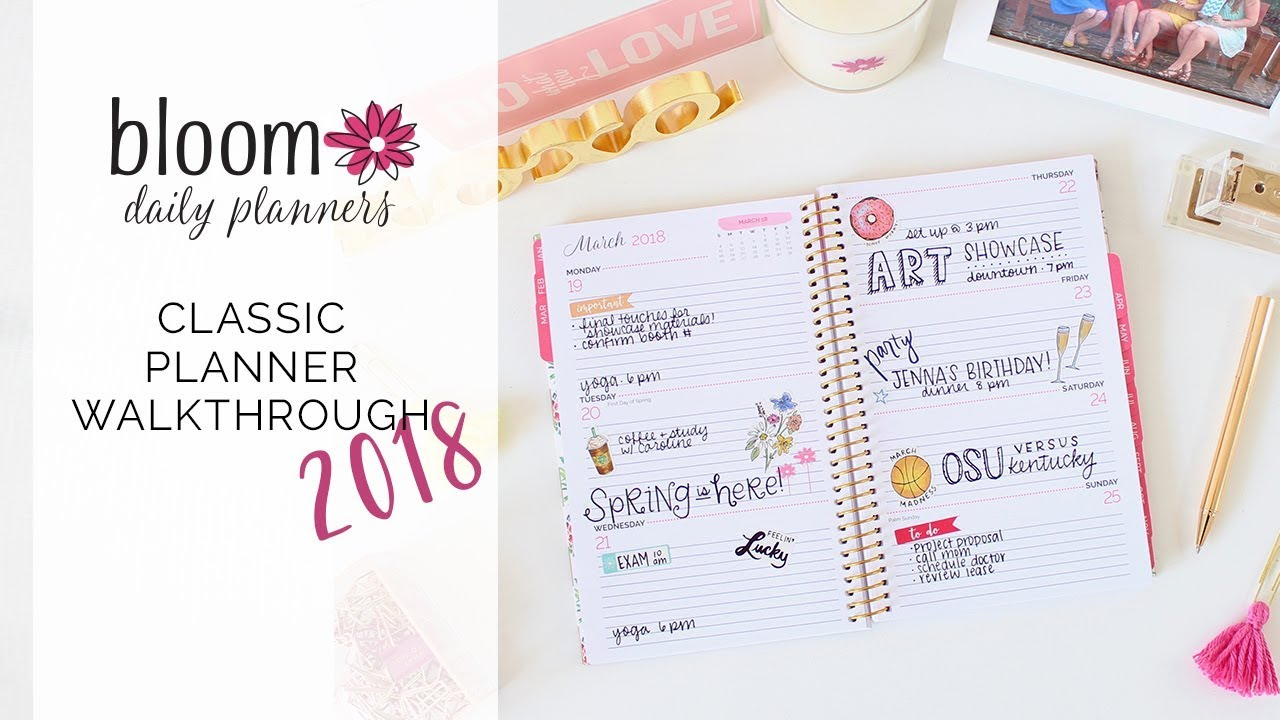 bloom daily planners 2018 january to december classic fashion planner full walkthrough youtube. Black Bedroom Furniture Sets. Home Design Ideas