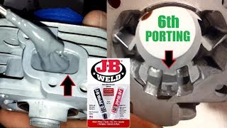(Part: 2/3) JB-Weld 6th porting in Zenoah G270RC custom Trevor Simpson Cylinder