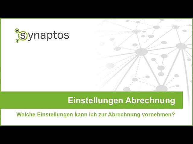 synaptos: Einstellungen Abrechnung