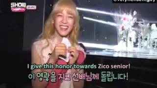 eng sub gugudan sejeong mentions zico show champion behind