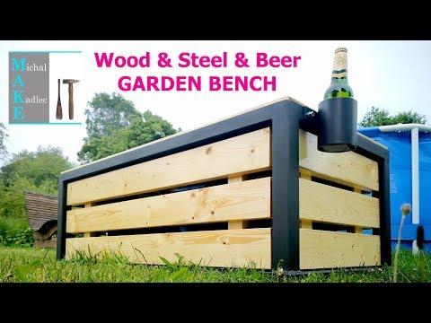 Wood & Steel & Beer GARDEN BENCH