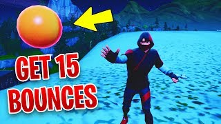 Get 15 bounces in a single throw with the Bouncy Ball toy - Fortnite Week 5 Challenges Season 8