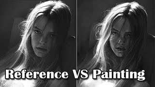 [Speedpaint] Reference Vs Painting a Girl in BW (Photoshop Digital Painting)