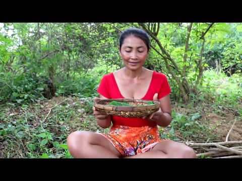 Survival skills: Finding natural mushrooms & fried for food – Cooking mushrooms eating delicious