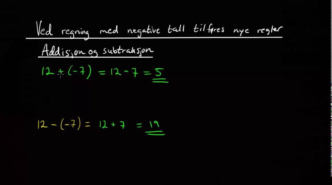 regning med negative tall oppgaver
