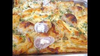 Вкусный картофель с  фаршированными куриными ножками в соусе. Праздничный картофель!