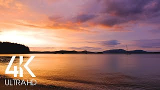 Beautiful Sunset - Relaxing Sound of Ocean Waves Crashing - 8 Hour Relax Video in 4K