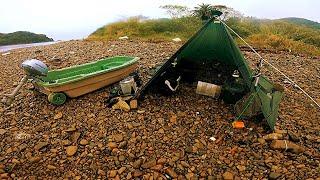アルバイトして買った小舟で海釣りしてイレクターパイプテント建てる離島キャンプに一緒に行くよ!
