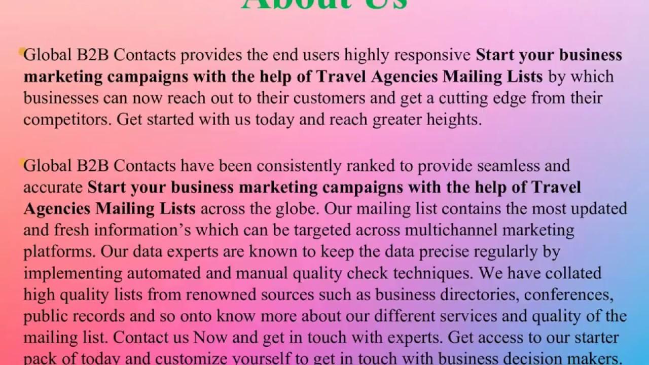 Travel Agencies Mailing Lists | List of Travel Agencies
