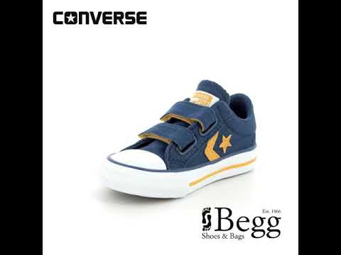 e102dc52ec41 Converse Star Player Velcro Infants 760035C Navy Trainers - YouTube