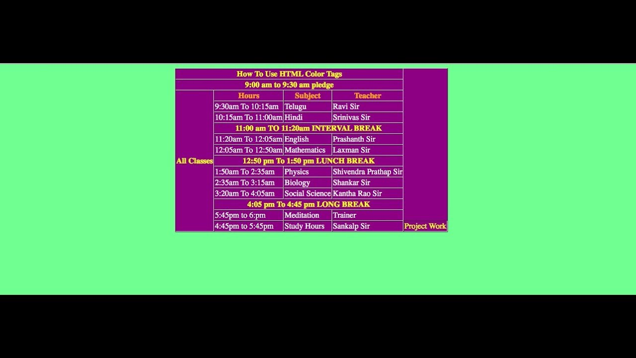 Make html table more attractive with html color codes - Html code for creating table ...