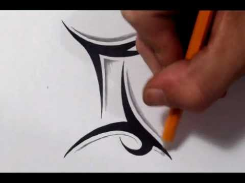 Gemini Tattoos How To Draw A Simple Tribal Star Sign Youtube