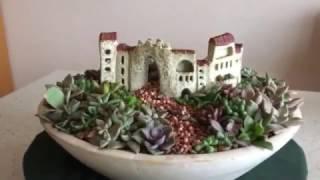 陶芸で作った町並みと多肉でミニチュアガーデンつくりました。