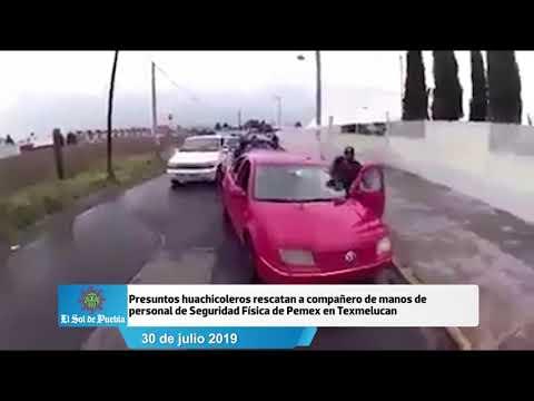 Huachicoleros rescatan a compañero detenido por personal de Seguridad de Pemex en Texmelucan