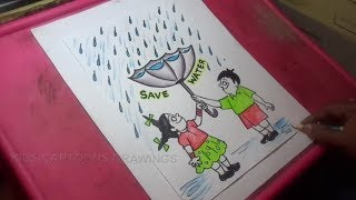 How to Draw Save Water Poster Color Drawing for kids