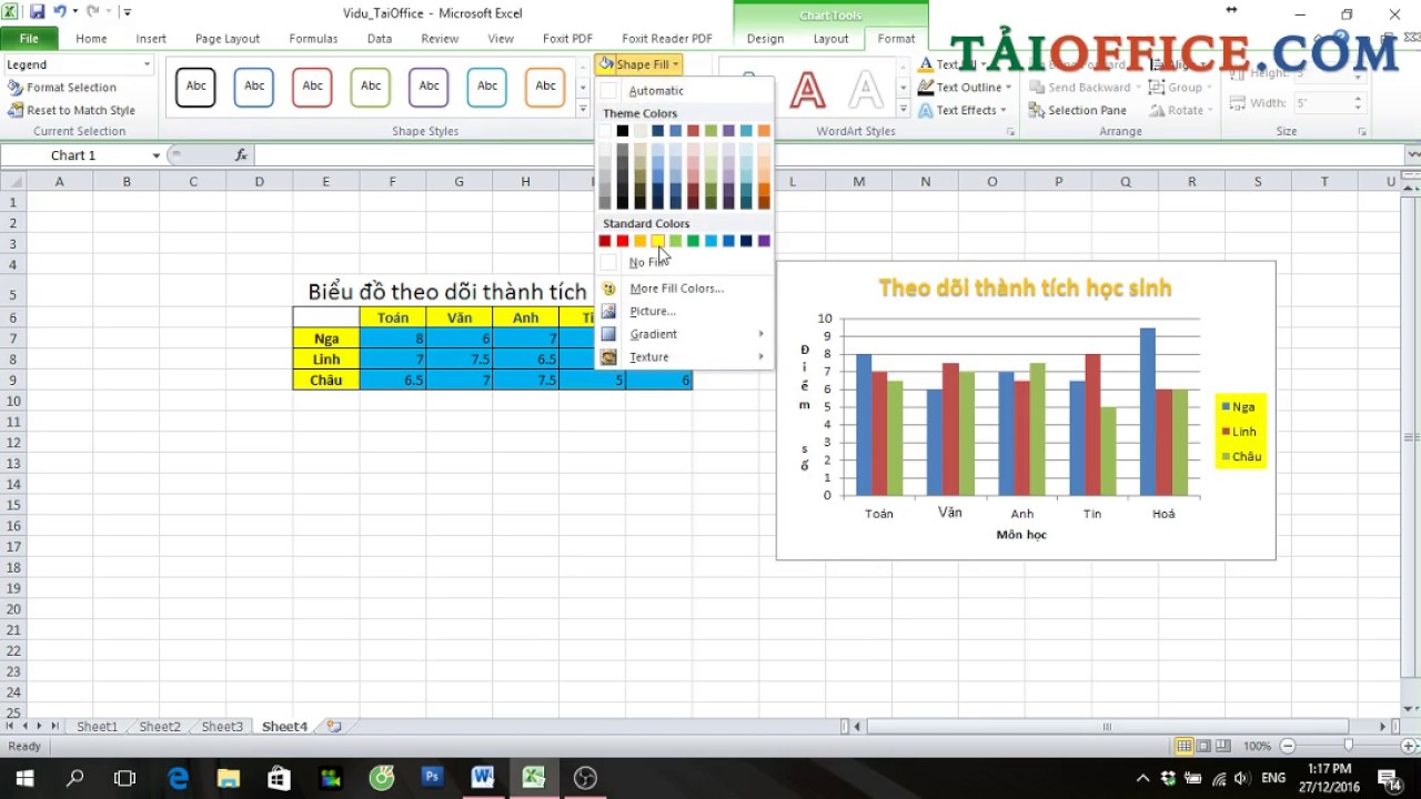 Hướng dẫn vẽ biểu đồ cột trong Excel