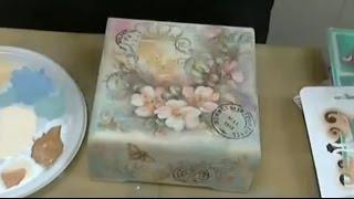 Шкатулка с фоном сфумато: видео мастер-класс Натальи Жуковой: коллажный декупаж с подрисовкой.