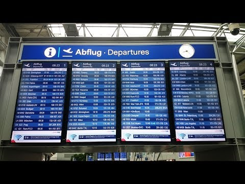 DUS Dusseldorf Airport Germany in the morning @ Departures & Arrivals and Skytrain 27 July 2017