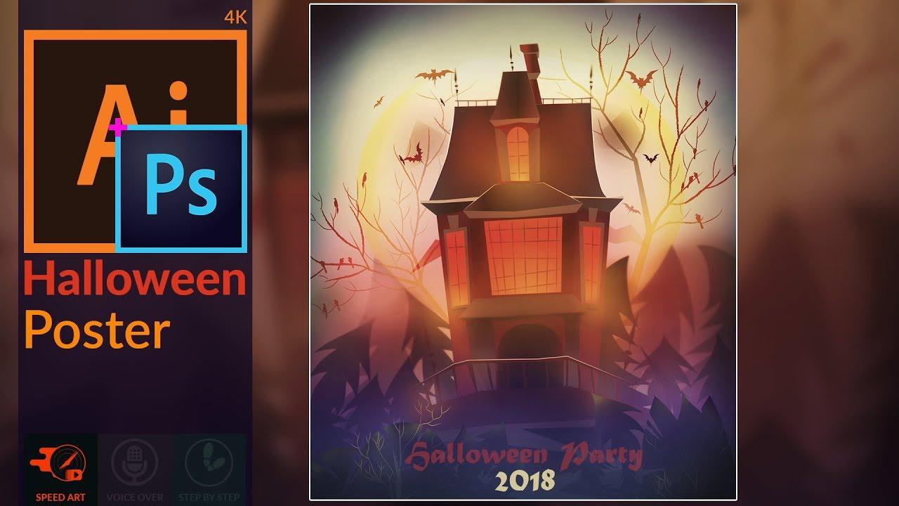 Halloween Poster Art.Halloween Poster Design In Adobe Illustrator Photoshop Cc Speed Art