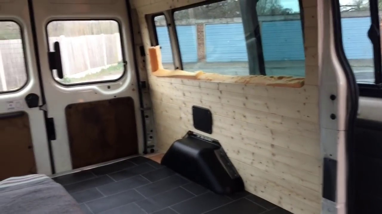 Part 3 Of Our Camper Van Conversion Pull Out Chair Bed Is Almost Done And Walls Are Up