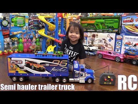 Children's Toy Channel: Fastlane Remote Control Semi Hauler Truck with Trailer Unboxing & Playtime