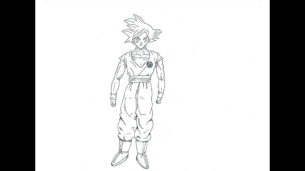 Como dibujar a Goku Dios Rojo Dragon ball Z La batalla de los