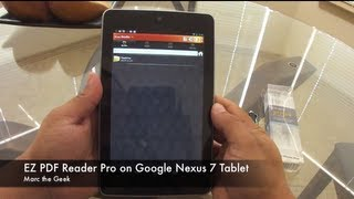 EZ PDF Reader Pro on Nexus 7 Tablet(In this video I show how EZ PDF Reader Pro works on the Nexus 7 tablet. This is an example that you can be somewhat productive on a 7 inch tablet., 2012-07-16T23:55:52.000Z)