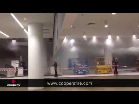 Hot Smoke Test demonstrating a Coopers SmokeStop® Smoke Curtain Barrier