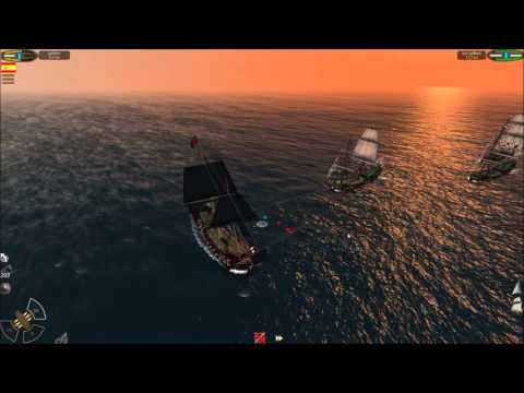 THE PIRATE CARIBBEAN HUNT LETS PLAY EP3 CURSED ATOLL CARRACK, 3X GALLEON (GUNS:38)