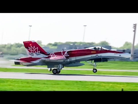 "RCAF ""Canada 150 Demo Jet"" CF-18 (F18) landing & departing Montreal (YUL/CYUL)"