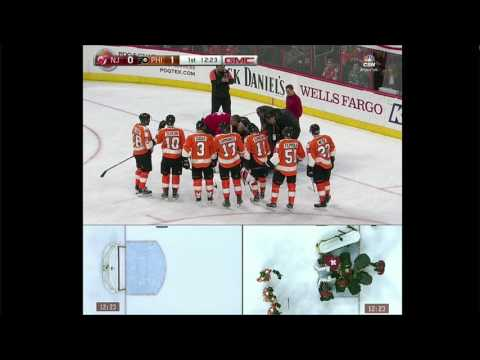 Michal Neuvirth of Flyers collapses, leaves game