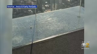 Protective Layer Of Willis Tower Skydeck Cracks Under Visitors' Feet
