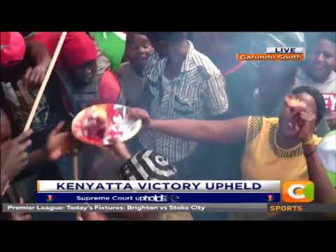 Residents of Gatundu cook Ugali and Nyama after the Supreme court verdict